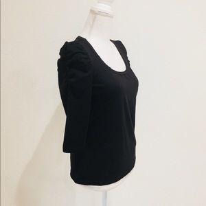 H&M Ruffle 3/4 Sleeves Black Top
